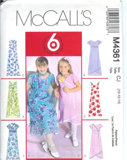 "M4361 McCalls Pattern ""6 LOOKS 1 EASY PATTERN"" Dress & Scarf Child / Girls CJ 10-12-14"