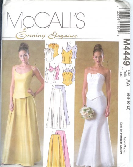 M4449 McCalls Pattern EVENING ELEGANCE Tops & Skirts Misses/Miss Petite AA 6-8-10-12