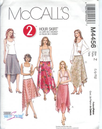 "M4456 McCalls Pattern ""2 HOUR SKIRT"" Skirts Misses/Miss Petite Size L-XL"