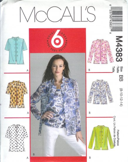"M4383 McCalls ""6 LOOKS 1 EASY PATTERN"" Shirts & Top Misses/Miss Petite  Size 12-14-16-18"