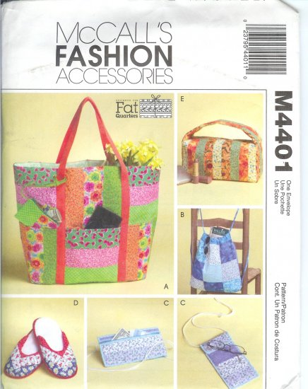 "M4401 McCalls Pattern FASHION ACCESSORIES ""FAT QUARTERS"" Bags & Travel Accessories"
