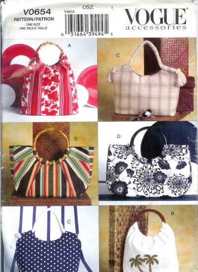 V0654 Vogue Pattern Accessories Summer Handbags
