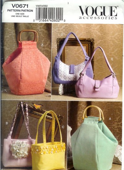V0671 Vogue Pattern Accessorie Handbags