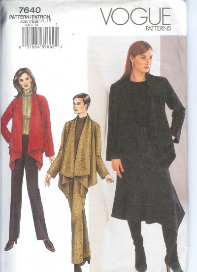 V7640 Vogue Pattern  Jacket, Skirt, Pants Miss Size 14, 16, 18