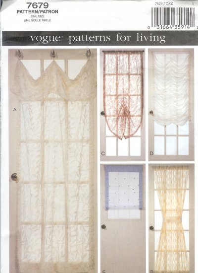 V7679 Vogue Pattern for Living DOOR Treatments