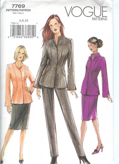 V7769 Vogue Pattern Petite Jacket, Pants, Skirt Misses Size 6, 8,10