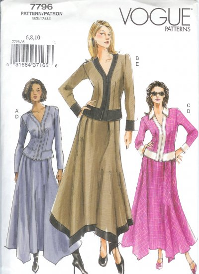 V7796 Vogue Pattern Top and Skirt Misses/Miss Petite Size 6, 8, 10