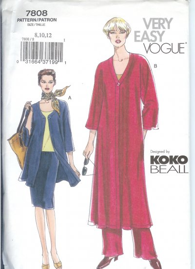 V7808 Vogue VERY EASY Jacket, Duster, Top, Skirt, Pants Misses/Miss Petite Size 20,22,24