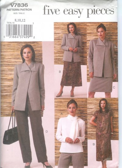 V7836 Vogue FIVE EASY PIECES Jacket, Top, Dress, Skirt, Pants, Scarf Misses/Miss Petite Size 14-18