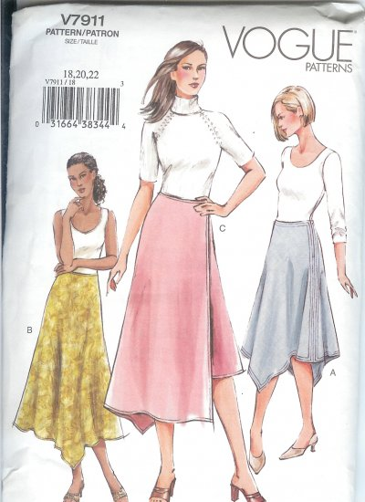 V7911 Vogue Pattern Skirt Misses Size 18, 20, 22
