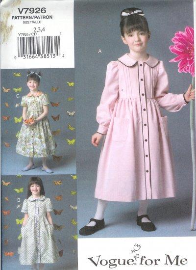 V7926 Vogue Pattern VOGUE FOR ME Dress Child Size 2, 3, 4