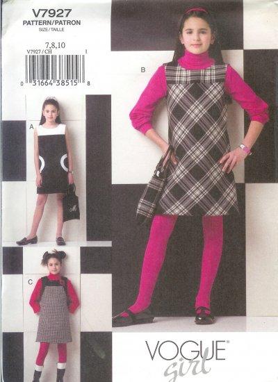 V7927 Vogue Pattern VOGUE GIRL Dress, Jumper, Handbag Girls Size 12,14,16