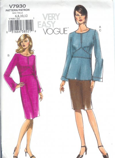 V7930 Vogue Pattern VERY EASY Top, Dress, Skirt Misses Size 6, 8, 10, 12