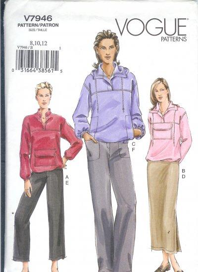 V7946 Vogue Pattern Top, Skirt, Pants Misses Size 8, 10, 12