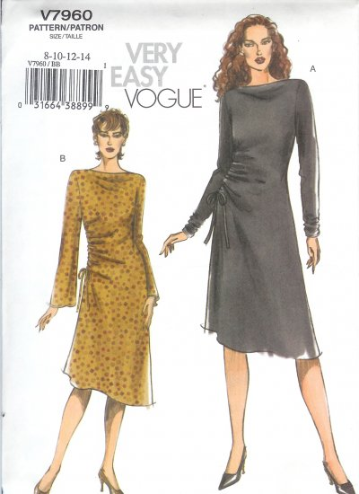 V7960 Vogue Pattern VERY EASY Dress Misses Size 8-14