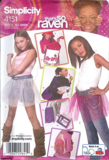 S4151 Simplicity Pattern THATS SO RAVEN Skirt,  Hat in 3 Sizes, & Accessories Childs ALL SIZES