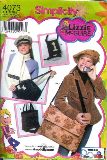 S4073 Simplicity LIZZIE McGUIRE Hat in 3 Sizes & Accessories Childs ALL SIZES