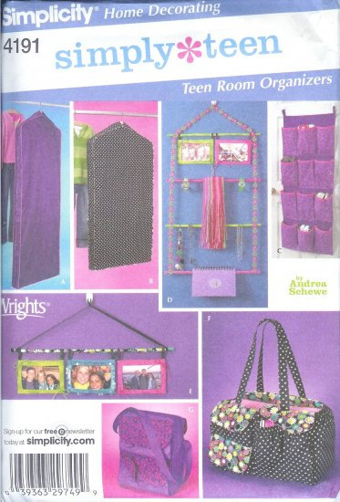 S4191 Simplicity SIMPLY TEEN Teen Room Organizers