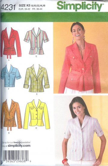 S4231 Simplicity Jacket w/ Length, Collar Variations and Tie Belt Misses/Miss Petite Size Y5 18-26
