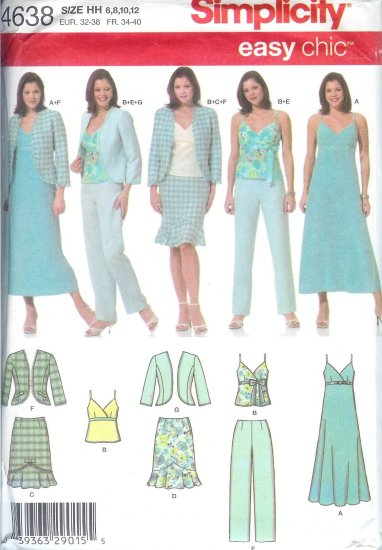 S4638 Simplicity Pattern EASY CHIC Dress, Top, Skirt, Pants, Jacket Misses/Miss Petite HH 6,8,10,12