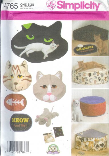 S4765 Simplicity Pattern Cat Beds and Accessories