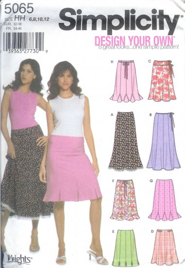 S5065 Simplicity DESIGN YOUR OWN 8 LOOKS Skirt Misses/Miss Petite Size R5 14,16,18,20,22