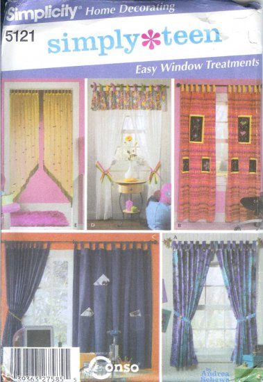S5121 Simplicity Pattern SIMPLY TEEN Easy Window Treatments