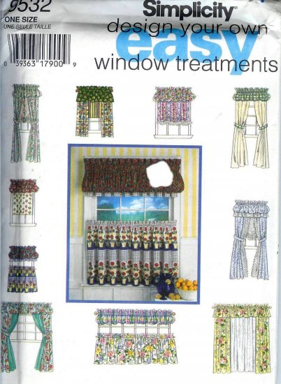 S9532 Simplicity Pattern Design Your Own EASY Window Treatments