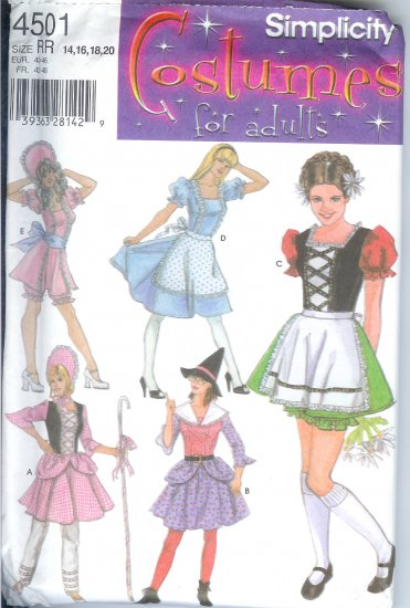 S4501 Simplicity Pattern Costumes for Adults Misses Size HH 6,8,10,12