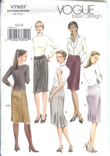 V7937 Vogue Pattern BASIC DESIGN Skirt Misses/Miss Petite Size 6,8,10