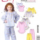 M4636 McCall Pattern Nightgown , Tops, and Pants Childs / Girls Size B 6-7-8