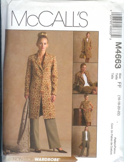 M4663 NON-STOP WARDROBE Lined Jacket, Top, Pants, Skirt Misses/Miss Petite Size BB 8,10,12,14