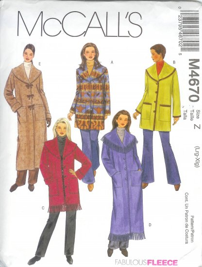 M4670 McCalls FABULOUS FLEECE Unlined Jackets, Coats Misses/Miss Petite Size  XS, S, M