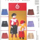 "M4576 McCall Pattern ""6 Great Looks in 1 Pattern"" Skorts Childs / Girls Size CCE 3-4-6"