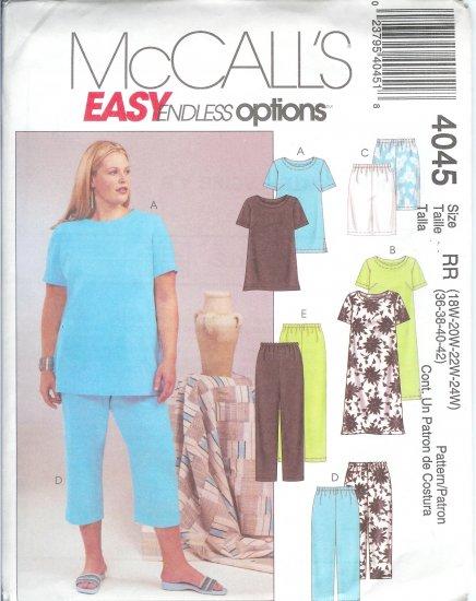 M4045 McCalls ENDLESS OPTIONS Top Dress Shorts & Pants 2 Lengths Womens/Womens Petite Size 26W-32W