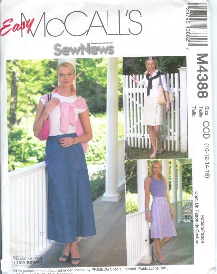 M4388 McCalls Pattern EASY Skorts in 3 lengths Misses Size BB 8-10-12-14