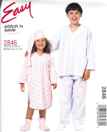 M2846 McCall EASY Stitch N Save Nightshirt, PJ's, Hat, Bootees Boys/Girls/Child Size M 8-10, L 12-14