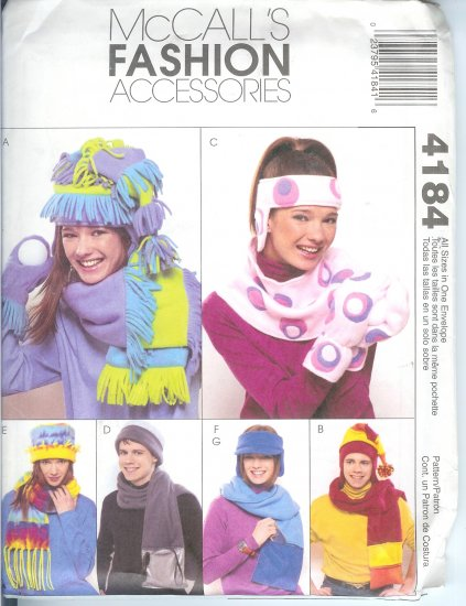 M4184 McCall Pattern FASHION ACCESSORIES  Hat, Scarf, Mittens, Headband, Visor All Sizes