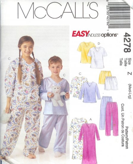 M4278 McCall EASY ENDLESS OPTIONS Nightshirt, or Top,Pants or Shorts Child Size Z Med-Large