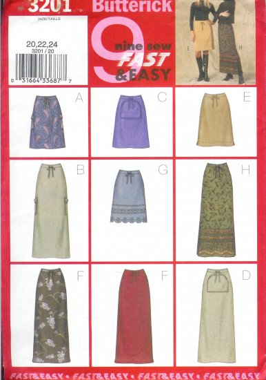 B3201 Butterick Pattern 9 SEW FAST EASY Skirt Misses/Miss Petite Size 20, 22, 24