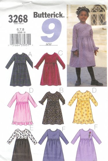 B3268 Butterick Pattern 9 EASY SEW Dress Child/Girls Size 2,3,4,5