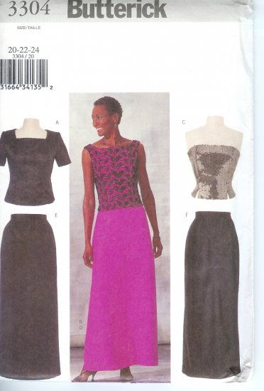 B3304 Butterick Pattern Top, Skirt Misses Size 20, 22, 24