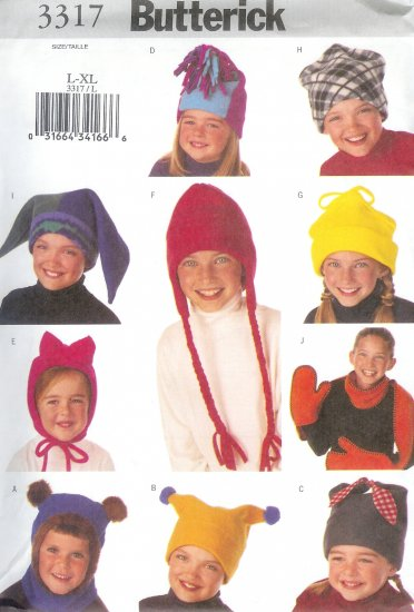 B3317 Butterick Pattern Hat Scarf Child/Boys/Girls Size XS, S, M