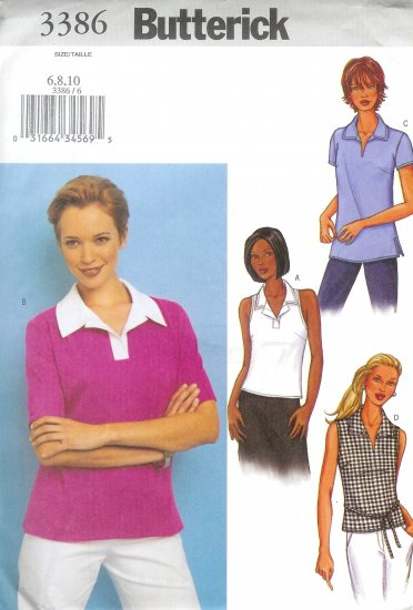 B3386 Butterick Pattern Top Misses/Miss Petite Size 6, 8, 10