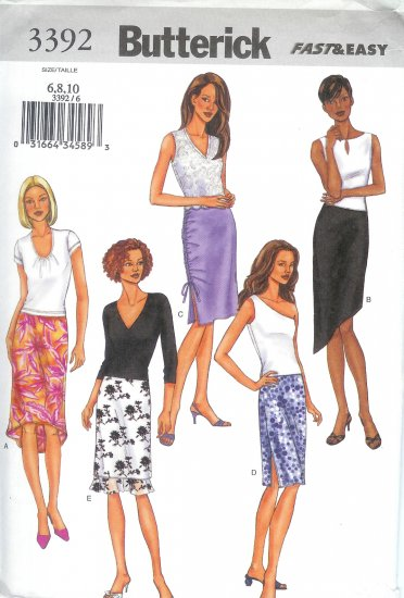 B3392 Butterick FAST EASY Skirt Misses/Miss Petite Size 6, 8, 10