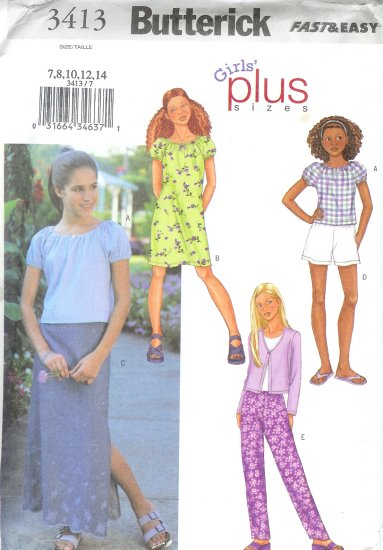 B3413 Butterick FAST EASY Jacket, top, Dress, Skirt, Shorts,Pants PLUS Girl Size 7-14