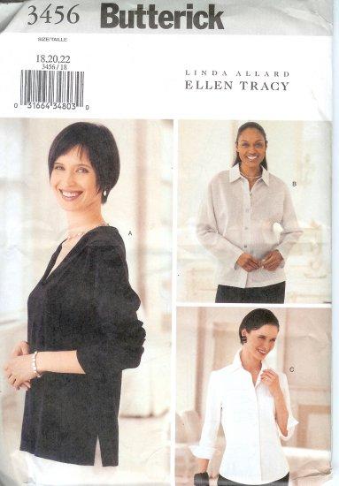 B3456 Butterick Pattern TLINDA ALLARD & ELLEN TRACY Tops Misses Size18, 20, 22
