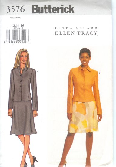 B3576 Butterick Pattern  EASY Jacket, Skirt Misses/Miss Petite Size 12, 14, 16