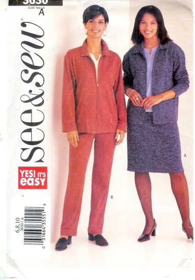 B3630 Butterick Pattern VERY EASY SEE & SEW Misses Size 6, 8, 10