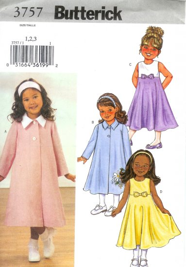 B3757 Butterick Pattern EASY Coat, Dress Toddler/Child Size 1, 2, 3